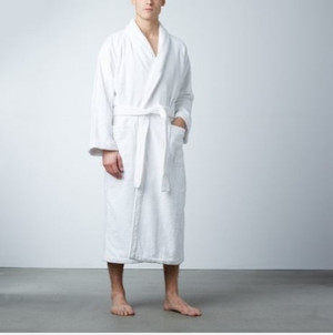 Snuggle into comfort with our premier Rivolta Carmignani® luxury robe. Made of 100% cotton, this heavy, soft terry cloth robe features a shawl collar, two pockets, cuffed sleeves, a belt with double loops and a hanger loop. Highly Machine Washable. One size fits most; available only in classic white. Used in resorts throughout the world, Rivolta Carmignani® luxury linens have been made by the Rivolta family company in Macherio, Italy since 1867.     Made of 100% cotton  Soft terry cloth  Highly Machine Washable  Availabe only in white   Call 855-468-3528 or click here to email us about large quantity purchases.     Snuggle into comfort with our premier Rivolta Carmignani® luxury robe. Made of 100% cotton, this heavy, soft terry cloth robe features a shawl collar, two pockets, cuffed sleeves, a belt with double loops and a hanger loop. Highly Machine Washable. One size fits most; available only in classic white. Used in resorts throughout the world, Rivolta Carmignani® luxury linens have been made by the Rivolta family company in Macherio, Italy since 1867.     Made of 100% cotton  Soft terry cloth  Highly Machine Washable OSFM  Availabe only in white   Call 855-468-3528 or click here to email us about large quantity purchases.     (Note: The digital images we display have the most accurate color possible. However, due to differences in computer monitors, we cannot be responsible for variations in color between the actual product and your screen.)