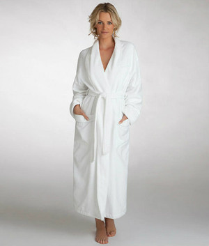 """Featured in fine hotels, such as Omni Hotels & Resorts, this wonderful Luxury Microfiber Hotel Robe features an ultra soft poly microfiber outer shell and a fine 80/20 poly/cotton terry lining for comfort and durability. The Luxury Microfiber Hotel Robe has a belt, side pockets and fine detailing, you'll look and feel great. Highly Machine Washable. The Luxury Microfiber Hotel Robe is available in three sizes (S,M,L) for both men and women; available in classic white only.     Featured at many hotel properties Ultra soft poly microfiber Cotton terry lining for comfort and durability Highly Machine Washable Available in classic white only Belt Shawl collar Two pockets Long sleeves White piping detail    -Small: 48"""" length, 60"""" sweep -Medium: 50"""" length, 62"""" sweep -Large: 50"""" length, 66"""" sweep      Call 855-468-3528 or click here to email us about large quantity purchases.     (Note: The digital images we display have the most accurate color possible. However, due to differences in computer monitors, we cannot be responsible for variations in color between the actual product and your screen.)"""