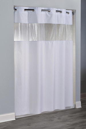 "Available in different styles to complement any decor, the Major Hookless® shower curtain is not only handsome - it's also extra durable because it's made for hotels. It installs in seconds and operates smoothly without tugging or snagging. This curtain ""stacks"" beautifully for a neat appearance when pushed to the side. The Major Hookless® shower curtain works with any shower rod, but combine it with The Arc ™ for an elegant upgrade. The Major Hookless® shower curtain combines the subtle water-effect pattern of moiré on 100% polyester with the convenience of a bubble textured vinyl window.  100% polyester with vinyl bubble look window to let light in Water repellent with ultrasonic bottom hem to prevent mold & mildew Weighted corner magnets 71 x 77 Available in white & beige with matching-color rings  Call 855-468-3528 or click here to email us about large quantity purchases."