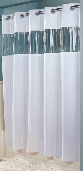 "Available in different styles to complement any decor, the 8 Gauge Vinyl Vision Hookless® shower curtain is not only handsome - it's also extra durable because it's made for hotels. It installs in seconds and operates smoothly without tugging or snagging. This curtain ""stacks"" beautifully for a neat appearance when pushed to the side. The 8 Gauge Vinyl Vision Hookless® shower curtain works with any shower rod, but combine it with The Arc ™ curved shower rod for an elegant upgrade. The 8 Gauge Vinyl Vision Hookless® shower curtain is the standard vinyl Hookless® shower curtain enhanced with a translucent vinyl window allowing light into the bath.  100% Vinyl with clear window Waterproof 71 by 74 inches Available in white and beige  Call 855-468-3528 or click here to email us about large quantity purchases."