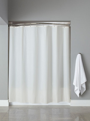 This heavy duty shower curtain is great looking and durable - because it's made for hotel use. 10 gauge heavy-weight vinyl with leather-like embossing Mildew and mold resistant No side bindings or bottom hems - for easy run off and cleaning Rust-proof anodized aluminum grommets Reinforced Safe-T-Top® header 72 x 72 inches Available in white and champagne