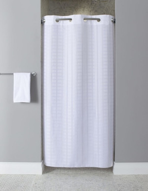 "We now offer our top-selling Litchfield pattern for shower stalls.  Available in different styles to complement any decor, the Stall Litchfield Hookless® shower curtain is not only handsome - it's also extra durable because it's made for hotels. The Stall Litchfield Hookless® shower curtain  installs in seconds and operates smoothly without tugging or snagging. The Stall Litchfield Hookless® shower curtain ""stacks"" beautifully for a neat appearance when pushed to the side. The Stall Litchfield Hookless® shower curtain with ""It's A Snap""™ liner works with any shower rod, but combine it with The Arc ™ for an elegant upgrade.  Full panel Hookless® shower curtain. 42″ width to fit shower stalls. (42 x 74) Matching flat Flex-On® rings. Features ultrasonic bottom cut to prevent mildew buildup. Includes weighted corner magnets. Available in white Call 855-468-3528 or click here to email us about large quantity purchases."