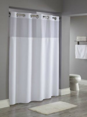 "Available in different styles to complement any decor, the Reflection  Hookless® shower curtain is not only handsome - it's also extra durable because it's made for hotels. The Reflection  Hookless® shower curtain installs in seconds and operates smoothly without tugging or snagging. The Reflection  Hookless® shower curtain curtain ""stacks"" beautifully for a neat appearance when pushed to the side. The Reflection Hookless® shower curtain with ""It's A Snap""™ liner works with any shower rod, but combine it with The Arc ™ for an elegant upgrade. The luxurious spa-like appearance in coupled with the long-term durability of 100% polyester in the Reflection Hookless® shower curtain.   Water repellent Chrome plated rings Heavy duty snaps with flap to prevent leakage 71 x 77 inches Washable and dryable polyester cloth liner Treated to resist soap scum and minimize mold and mildew Available in white Call 855-468-3528 or click here to email us about large quantity purchases."