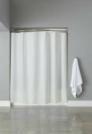 "Available in different styles to complement any decor, the 6 Gauge Vinyl hooked™ shower curtain is not only handsome - it's also extra durable because it's made for hotels. It installs in seconds and operates smoothly without tugging or snagging. This curtain ""stacks"" beautifully for a neat appearance when pushed to the side. The 6-Gauge Vinyl hooked™ curtain is our most economical shower curtain. Offered in beige and treated with an anti-microbial finish for easy cleaning. Features chrome plated copper grommets.   Triple reinforced grommet header Chrome plate copper grommets Full panel 100% vinyl shower curtain Treated with an anti-microbial finish 6 gauge vinyl in beige & frost 72 x 72 Call 855-468-3528 or click here to email us about large quantity purchases."