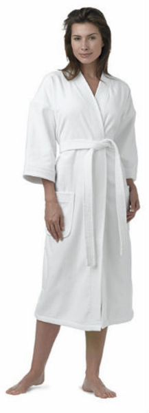 """Made from a variety of materials including chamois, waffle, loop terry or terry velour (smooth like velvet on the outside and looped for absorbency on the inside). Most of the kimono robes are 48 inches long for below knee coverage, and generously sized to fit almost everyone!  All Kimono robes have reinforced shoulders. The BEST Kimono bathrobes available! The Velour Kimono Robe is anything but basic! Made from terry velour which is smooth like velvet on the outside and looped for absorbency. Highly Machine Washable. BUST MEASUREMENT - 57"""". UNISEX.     Smooth like velvet on the outside and looped for absorbency on the inside Reinforced shoulders 48"""" long for below knee coverage 57"""" Bust measurement  Made from Terry velour Highly Machine Washable Unisex  OSFM    Call 855-468-3528 or click here to email us about large quantity purchases.      (Note: The digital images we display have the most accurate color possible. However, due to differences in computer monitors, we cannot be responsible for variations in color between the actual product and your screen.)"""
