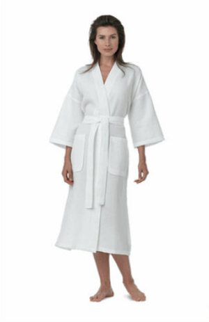 Different finished examples in a lightweight cotton or cotton/poly mix deliver a robe that is reduced, permeable and appealing. Numerous accessible in bigger sizes. These extraordinary lightweight waffle robes are made of cool cotton or poly cotton waffle provokes. Utilized by the best tropical inns and spas. Diamond style waffle robes are accessible in natural or white. All other waffle robe styles are just accessible in white.  Call 855-468-3528 or click here to email us about large quantity purchases.