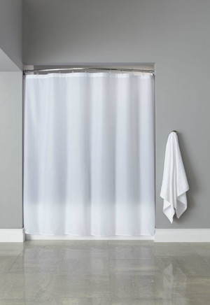 "Available in different styles to complement any decor, the Basic Poly Hooked™ shower curtain is not only handsome - it's also extra durable because it's made for hotels. The Basic Poly Hooked™ shower curatin installs in seconds and operates smoothly without tugging or snagging. The Basic Poly Hooked™ shower curtain ""stacks"" beautifully for a neat appearance when pushed to the side. The Basic Poly Hooked™ shower curatin is made of water-repellent 100% polyester plaineweave texture. An esteem valued contrasting option to the nylon weave standard. The Basic Poly Hooked™ highlights a triple fortified buttonhole header.   Triple reinforced buttonhole header Full panel 100% polyester shower curtain Features ultrasonic bottom cut to prevent mildew buildup. 72x72 Call 855-468-3528 or click here to email us about large quantity purchases."