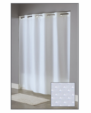 """Available in different styles to complement any decor, the Englewood Hookless® shower curtain is not only handsome - it's also extra durable because it's made for hotels. The Englewood Hookless® shower curtain installs in seconds and operates smoothly without tugging or snagging. The Englewood Hookless® shower curtain """"stacks"""" beautifully for a neat appearance when pushed to the side. The Englewood Hookless® shower curtain brings profundity and surface. The Englewood Hookless® incorporates a strengthened 3 utilize header with buttonhole eyelets for included toughness and life expectancy. Highly Machine Washable.      Triple reinforced buttonhole header Full panel 100% polyester shower curtain Dobby diamond pattern Features ultrasonic bottom cut to prevent mildew buildup. Highly Machine Washable Available in white only 71"""" x 74"""" 71"""" x 77""""    Call 855-468-3528 or click here to email us about large quantity purchases.     (Note: The digital images we display have the most accurate color possible. However, due to differences in computer monitors, we cannot be responsible for variations in color between the actual product and your screen.)"""