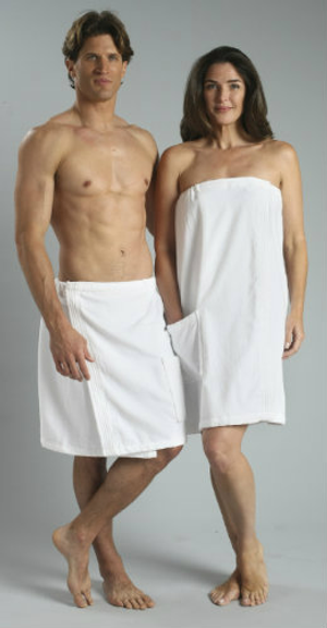 """Velcro closure towel wraps with a single pocket. Made of 100% cotton terry velour in two lengths: 30"""" for women and 21"""" for men. Available in white only. Highly Machine Washable.    Single pocket Made of 100% cotton terry velour Available in white only Highly Machine Washable 30"""" for women  21"""" for men   Call 855-468-3528 or click here to email us about large quantity purchases.     (Note: The digital images we display have the most accurate color possible. However, due to differences in computer monitors, we cannot be responsible for variations in color between the actual product and your screen.)"""