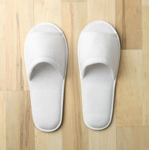 """The Open Toe Terry slippers are 11"""" long with terry upper and non-slip sole.    Terry upper Non-slip sole Available in Women's: 11 Available in Men's: 9.5   Call 855-468-3528 or click here to email us about large quantity purchases.     (Note: The digital images we display have the most accurate color possible. However, due to differences in computer monitors, we cannot be responsible for variations in color between the actual product and your screen.)"""