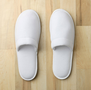 The Closed Toe Velour slippers upper and footbed with non-slip sole. (Available in Women's 9.5 / Men's Sm:8, Lg:12)  Call 855-468-3528 or click here to email us about large quantity purchases.