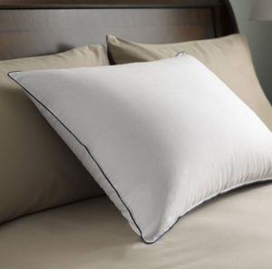 "The softness and ""giveability"" of down, enhanced for firmer support. The Feather Down Chamber™ pillow has a protected internal sleeve that concentrates down fill through the heart of the pillow to provide extra firmness.  Patented internal design 500 thread count, 100% Egyptian cotton Barrier Weave™ fabric 550 fill power Hyperclean® white goose down Design  Firmer central chamber  Surrounded by outer pillow of down   Fabric 500 thread count 100% cotton  Barrier Weave™ - Specially woven to prevent down from sneaking out   Dimensions Standard - 20"" x 26""  Queen - 20"" x 30""  King - 20"" x 36""    Call 855-468-3528 or click here to email us about large quantity purchases."