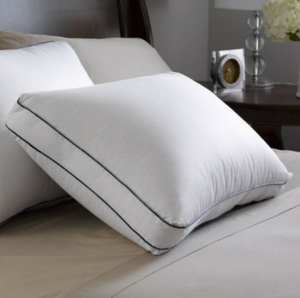 """The Feather Luxury Down Pillow has a super fluffy design for pure luxury. The Feather Luxury Down Pillow has patented SuperLoft™ design and gusseted edge gives merry, encompassing comfort. The Feather Luxury Down Pillow is high fill control with white goose down in addition to 100% cotton improve the lavish experience.      Patented SuperLoft™ tufted corner design with gusset 600 fill power Hyperclean® white goose down 500 thread count, 100% Egyptian cotton Barrier Weave™ fabric    Design Patented SuperLoft™ Tufted corner design, 2"""" Gusset   Fabric 600 fill power Hyperclean® 500 thread count, 100% Egyptian cotton Barrier Weave™ fabric   Dimension Standard- 17"""" x 23"""" x 2"""" Queen- 17"""" x 27"""" x 2"""" King- 17"""" x 33"""" x 2""""     Call 855-468-3528 or click here to email us about large quantity purchases.    (Note: The digital images we display have the most accurate color possible. However, due to differences in computer monitors, we cannot be responsible for variations in color between the actual product and your screen.)"""