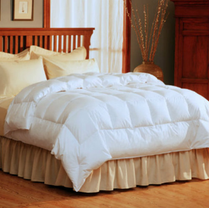 "The Feather Light Warmth Comforter is specialized for light warmth and fluffy appeal. This genuine perplex box design is filled with just the right amount of down for light warmth comfort while maintaining a fluffy and welcoming appearance. The attractive three sided Comfort Lock® fringe avoids moving.  Twin - 64"" x 86""  Full/Queen - 88"" x 90""  King - 104"" x 89    300 thread count 100% cotton Barrier Weave™ fabric 550 fill power HyperClean® Pacific Coast® down True baffle box design Comfort Lock® border Navy blue corded trim Ideal for warmer climates or those who need less warmth Call 855-468-3528 or click here to email us about large quantity purchases."