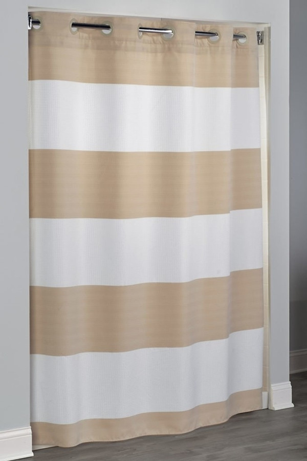 """Available in different styles to complement any decor, the Sonoma Hookless® shower curtain is not only handsome - it's also extra durable because it's made for hotels. It installs in seconds and operates smoothly without tugging or snagging. The Sonoma Hookless® shower curtain """"stacks"""" beautifully for a neat appearance when pushed to the side. The Sonoma Hookless® shower curtain with """"It's A Snap""""™ liner works with any shower rod, but combine it with The Arc ™ for an elegant upgrade.The new Sonoma Hookless® shower curtain is made of 100% polyester fabric. The Sonoma Hookless® shower curtain white stripes are a waffle weave fabric and the taupe stripes are made from a double thread weaving technique that creates depth. The Sonoma Hookless® shower curtain alternating stripe design brings a rich texture to the curtain that can be seen even from a distance.   Two piece set including Snap-in Liner Full length drapery design  White waffle and taupe woven stripes Matching Flex-On® rings Water repellent snap-in liner resists soap scum and minimizes mold and mildew Washable and dryable 71 by 77 inches Call 855-468-3528 or click here to email us about large quantity purchases."""