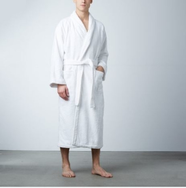 Snuggle into comfort with our premier Rivolta Carmignani® luxury robe. Made of 100% cotton, this heavy, soft terry cloth robe features a shawl collar, two pockets, cuffed sleeves, a belt with double loops and a hanger loop. Machine washable and dry-able. One size fits most; available in classic white. Used in resorts throughout the world, Rivolta Carmignani® luxury linens have been made by the Rivolta family company in Macherio, Italy since 1867. Call 855-468-3528 or click here to email us about large quantity purchases.