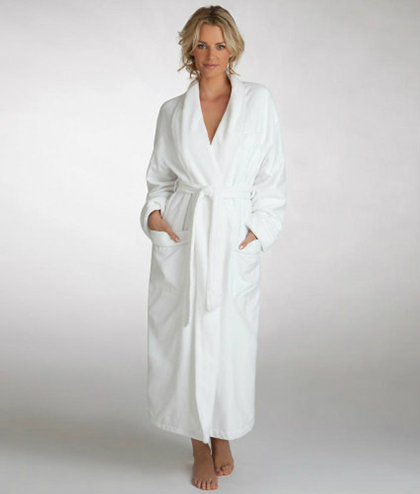 Found in fine hotels, this wonderful Deluxe White Microfiber Hotel Robe features an ultra soft poly microfiber outer shell and a fine 80/20 poly/cotton terry lining for comfort and durability. The Deluxe White Microfiber Hotel Robe has a breast pocket, side pockets and fine detailing, you'll look and feel great. Machine washable and dry-able. Three sizes for both men and women; available in classic white.  Call 855-468-3528 or click here to email us about large quantity purchases.