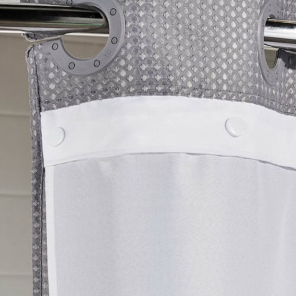 """Available in different styles to complement any decor, the Hookless®  It's A Snap Replacement LINER shower curtain is not only handsome - it's also extra durable because it's made for hotels. The Hookless®  It's A Snap Replacement LINER shower curtain installs in seconds and operates smoothly without tugging or snagging. This curtain """"stacks"""" beautifully for a neat appearance when pushed to the side. Hookless® It's A Snap Replacement LINER work with any shower rod, but combine them with The Arc™ for an elegant upgrade.  It's A Snap Replacement Liners 100% Polyester fabric Water repellent and treated to resist soap scum, mold & mildew Heavy duty snaps Ultrasonic bottom seam to resist mold & mildew Corner magnets 70 x 57 inches to replace snap-in liners for Double H Mystery, Pique, Stratus, Shimmy Square & Mini Waffle Weave Hookless® shower curtains 70 x 54 inches to replace snap-in liners for Escape Hookless® shower curtains Available in white and beige  Call 855-468-3528 or click here to email us about large quantity purchases."""
