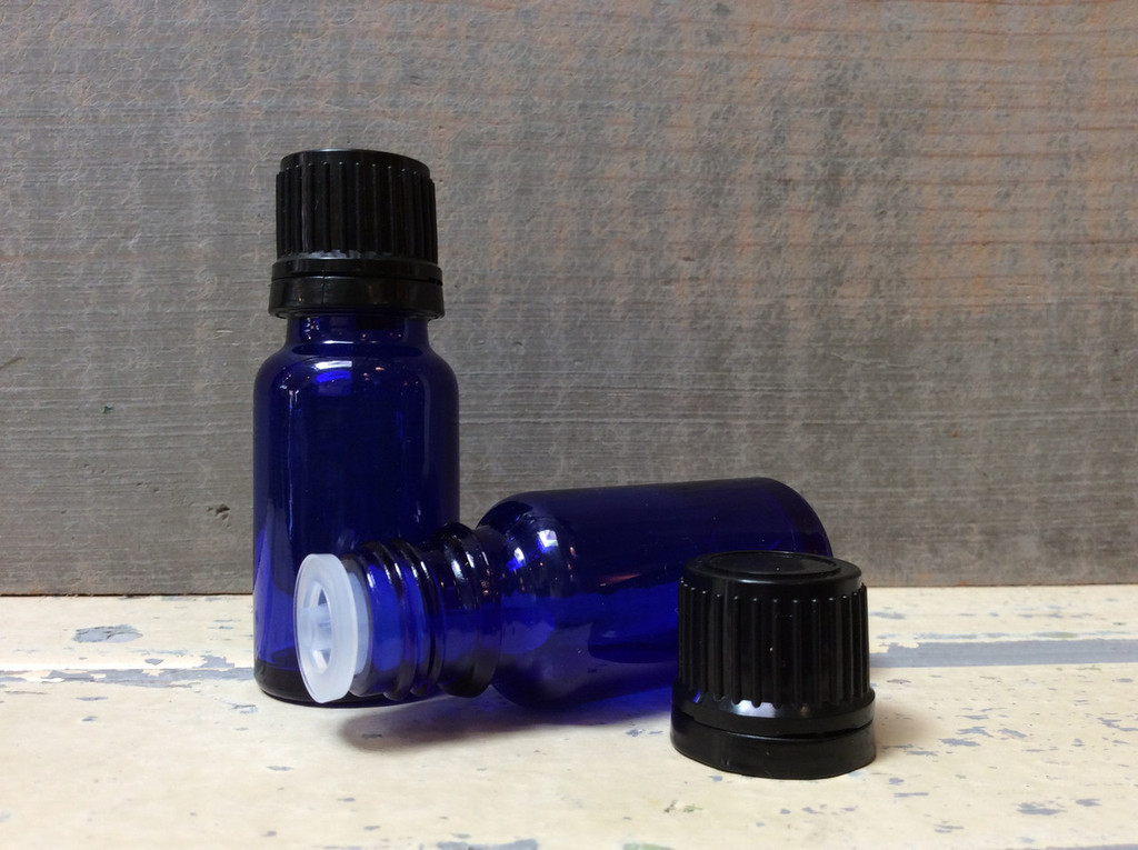 Blue Glass Bottle with orifice reducer