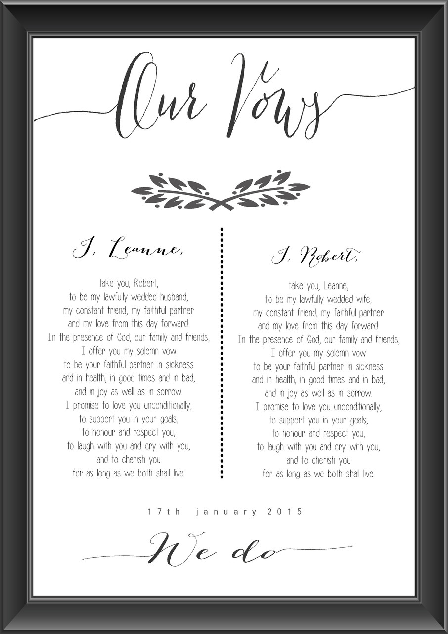 Personalised Wedding Vows Print Leaves
