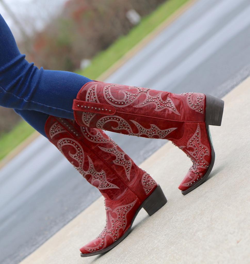 Lane Lovesick Stud Red Boots LB0199C Walk