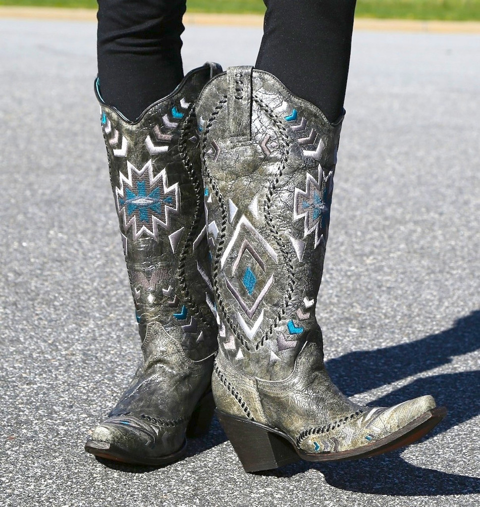 Corral Metallic Silver Multicolor Ethnic Pattern and Whip Stitch Boot C2883