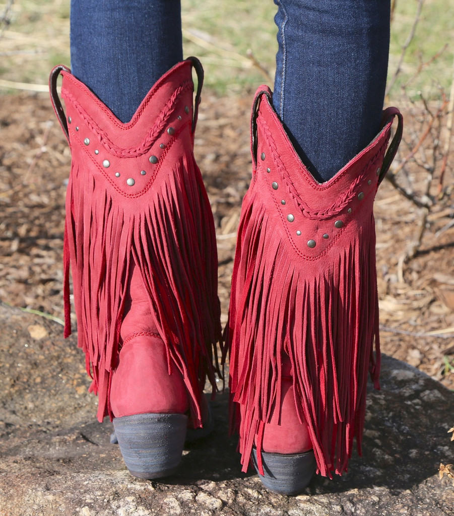 Liberty Black Vegas Fringe Boots Red LB71124