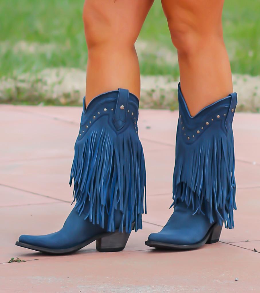 Liberty Black Vegas Fringe Boots Russian Blue LB71124 Image