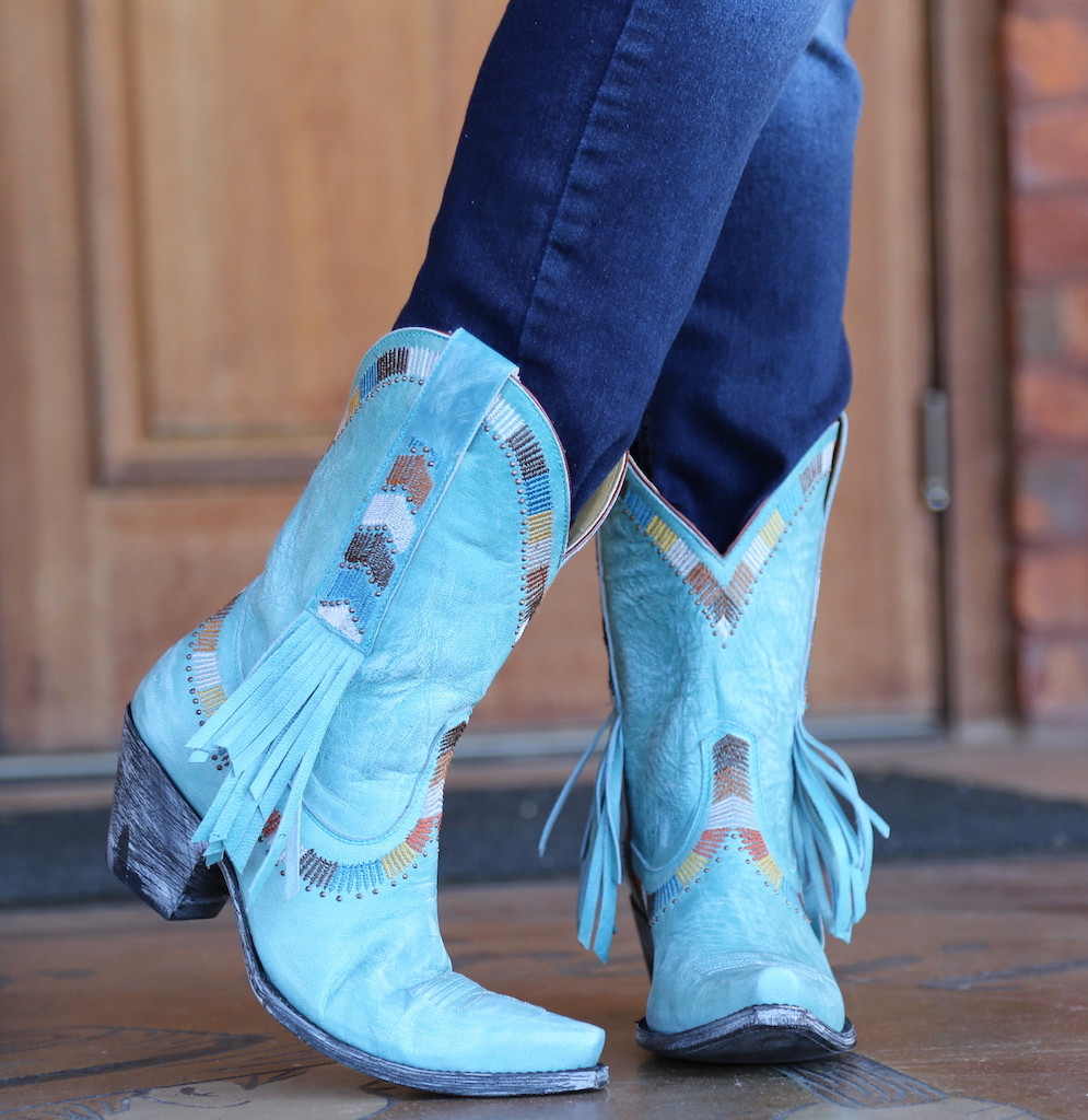 Yippee by Old Gringo Persefone Blue Boots YL230-2 Fringe