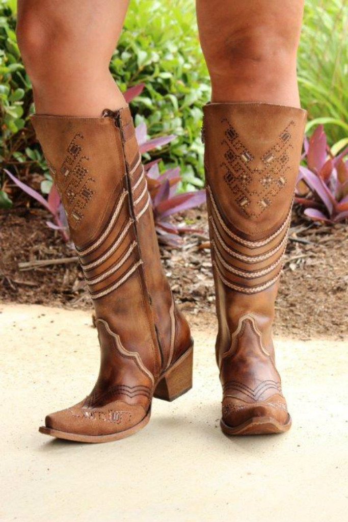 Corral Chocolate Embroidery and Swarovsky Boots C3206 Front Picture
