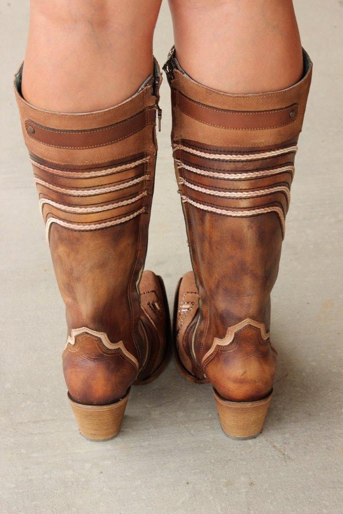 Corral Chocolate Embroidery and Swarovsky Boots C3206 Back Picture