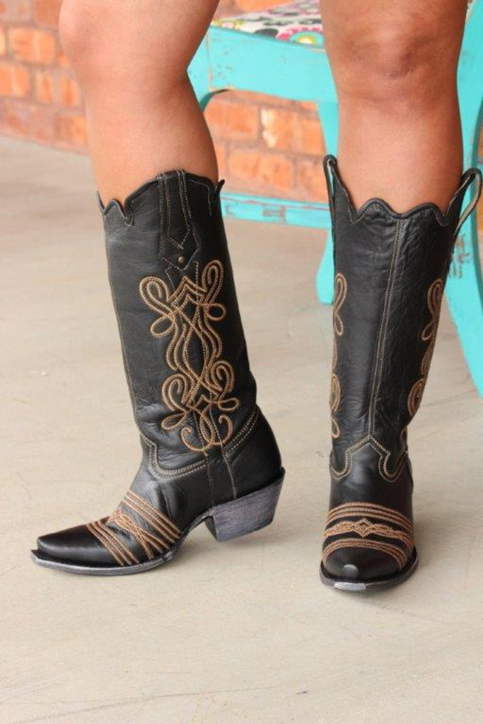 Corral Black Embroidery Tall Top Boot G1392 Front Picture