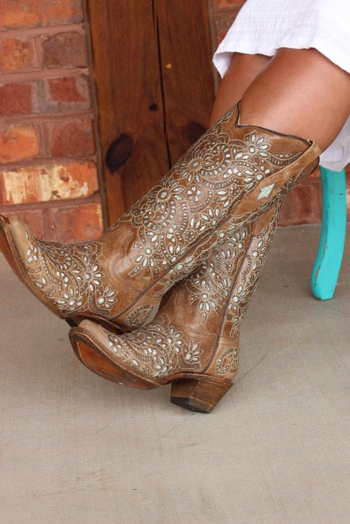 Corral Brown Glitter Inlay and Embroidery Boot A3352 Side Image