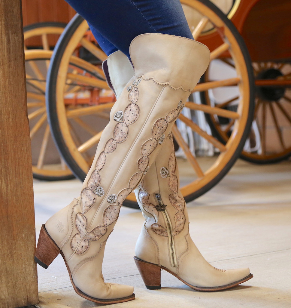 Junk Gypsy by Lane Cactus Knee High in Tonal Cream Boots JG0041C Side