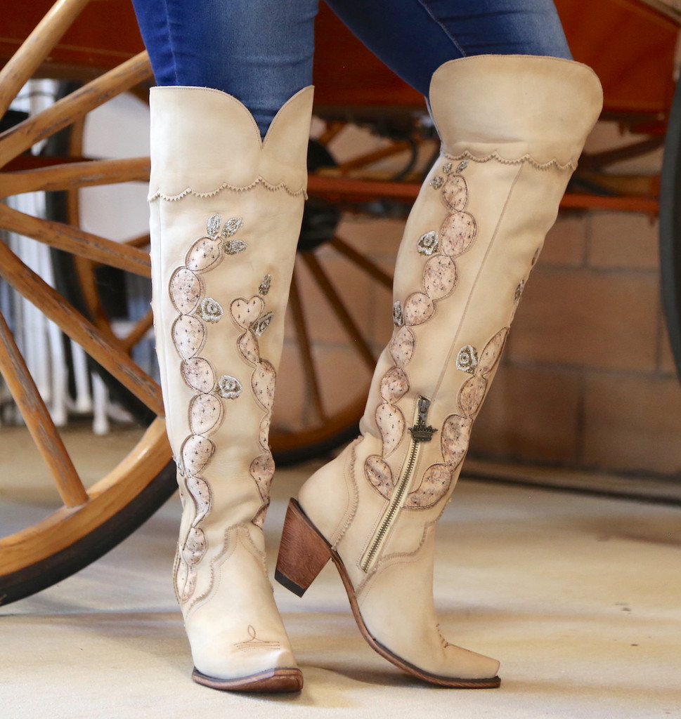 Junk Gypsy by Lane Cactus Knee High in Tonal Cream Boots JG0041C Picture