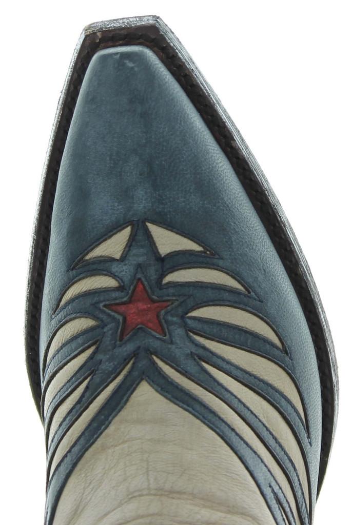 Old Gringo United Bone Blue Red Boots L2923-3 Toe