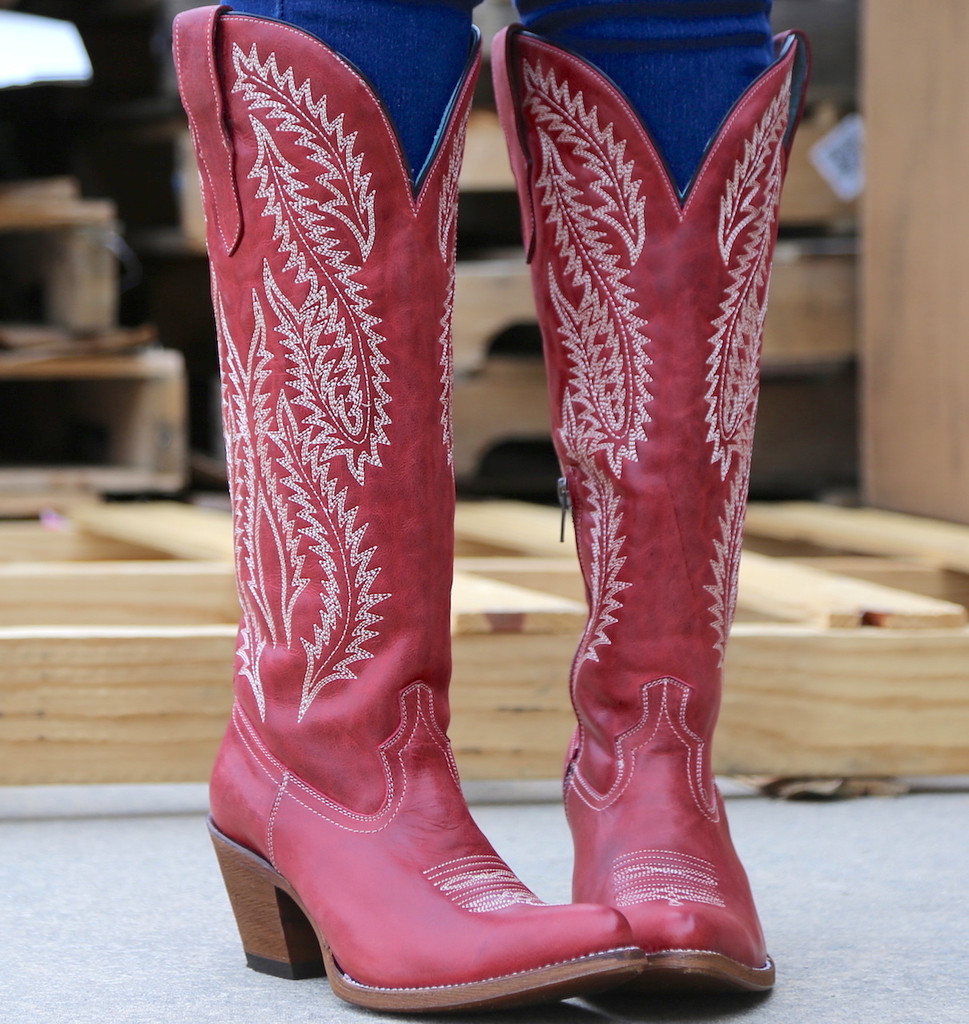 Corral Red Embroidery Tall Top Boots E1318 Toe