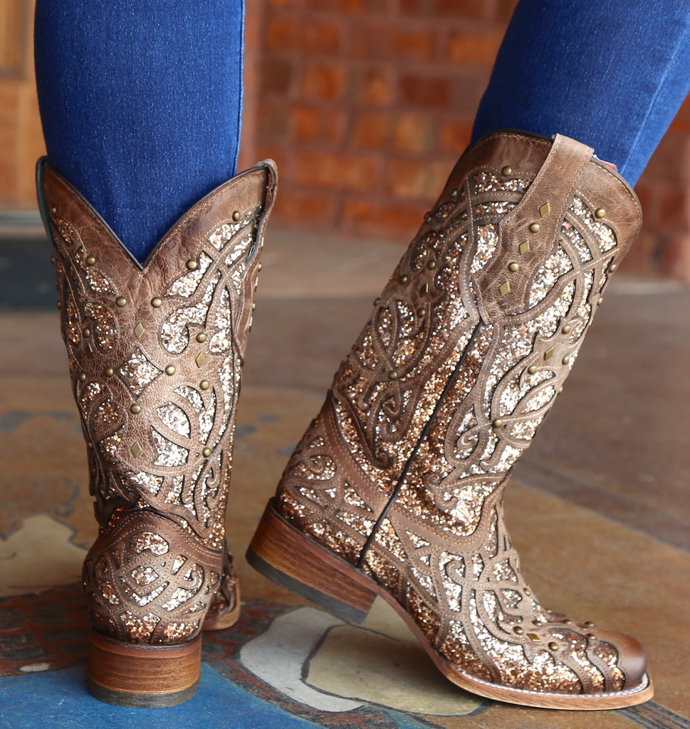 Corral Orix Glittered Inlay and Studs Square Toe Boots C3275 Heel