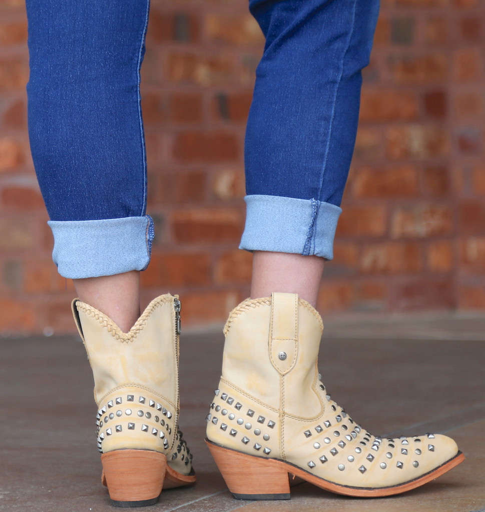 Liberty Black Fiona Short Studded Zipper Beige Boots LB71301 Heel