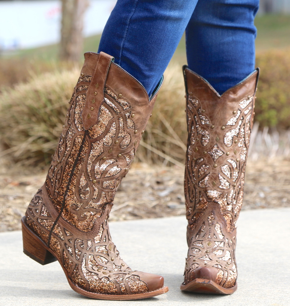 Corral Orix Glittered Inlay and Studs Snip Toe Boots C3331 Toe