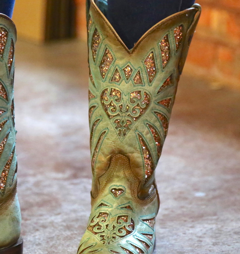 Corral Mint Glittered Inlay and Studs Square Toe Boots C3262 Detail