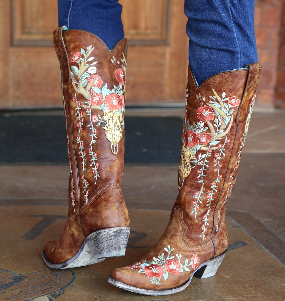 Corral Tan Deer Skull and Floral Embroidery Boots A3620 Picture