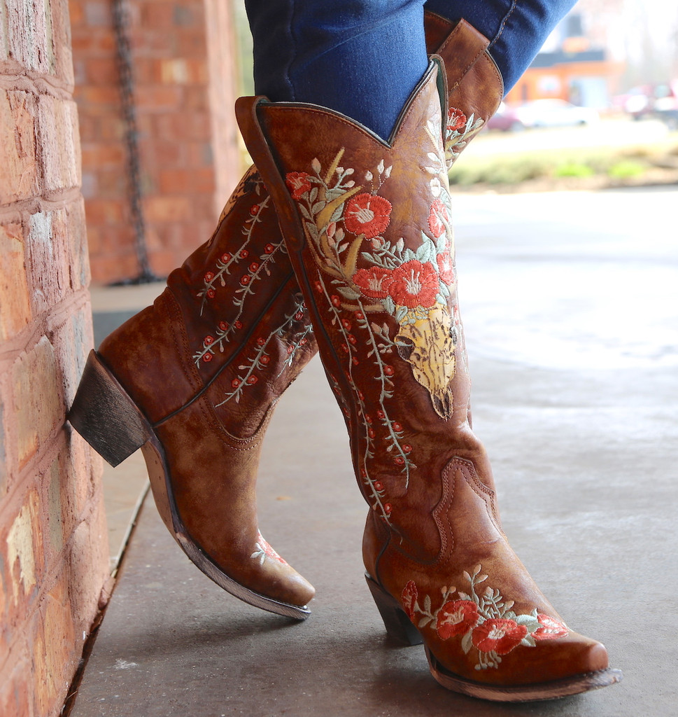 Corral Tan Deer Skull and Floral Embroidery Boots A3620 Front