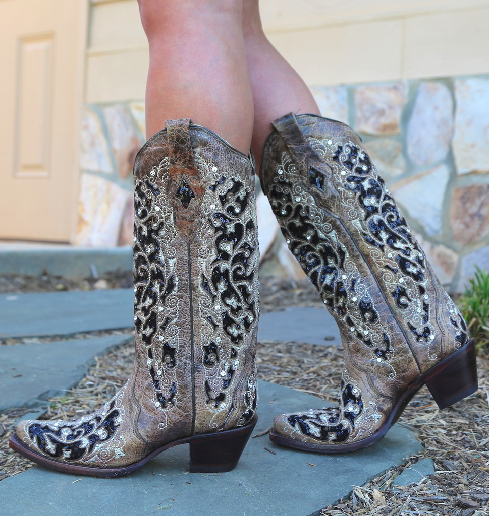 Corral Brown Black Inlay Floral Embroidery Studs and Crystals Boots A3569 Walk