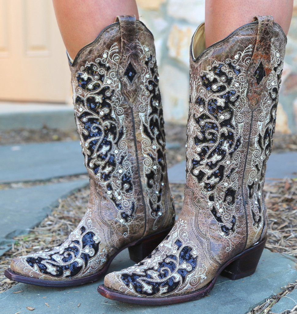 Corral Brown Black Inlay Floral Embroidery Studs and Crystals Boots A3569 Picture