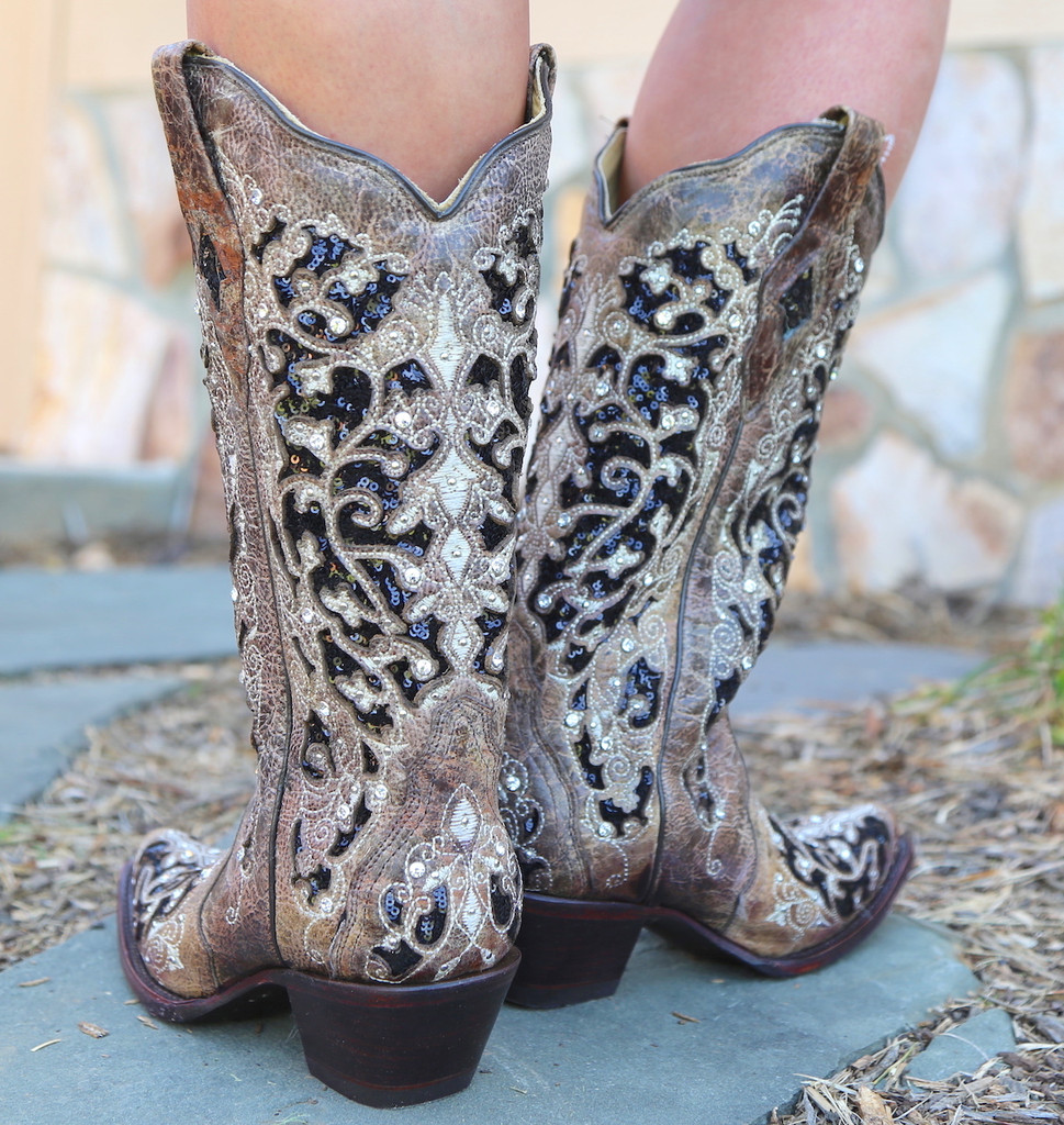 Corral Brown Black Inlay Floral Embroidery Studs and Crystals Boots A3569 Heel