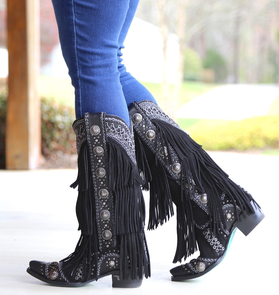 Lane Wind Walker Black Boots LB0378B Fringe
