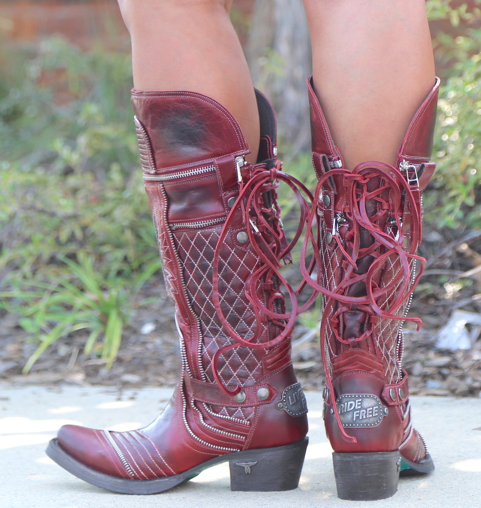 Lane Boots Zip It Red Moto Zipper LB0377A Heel
