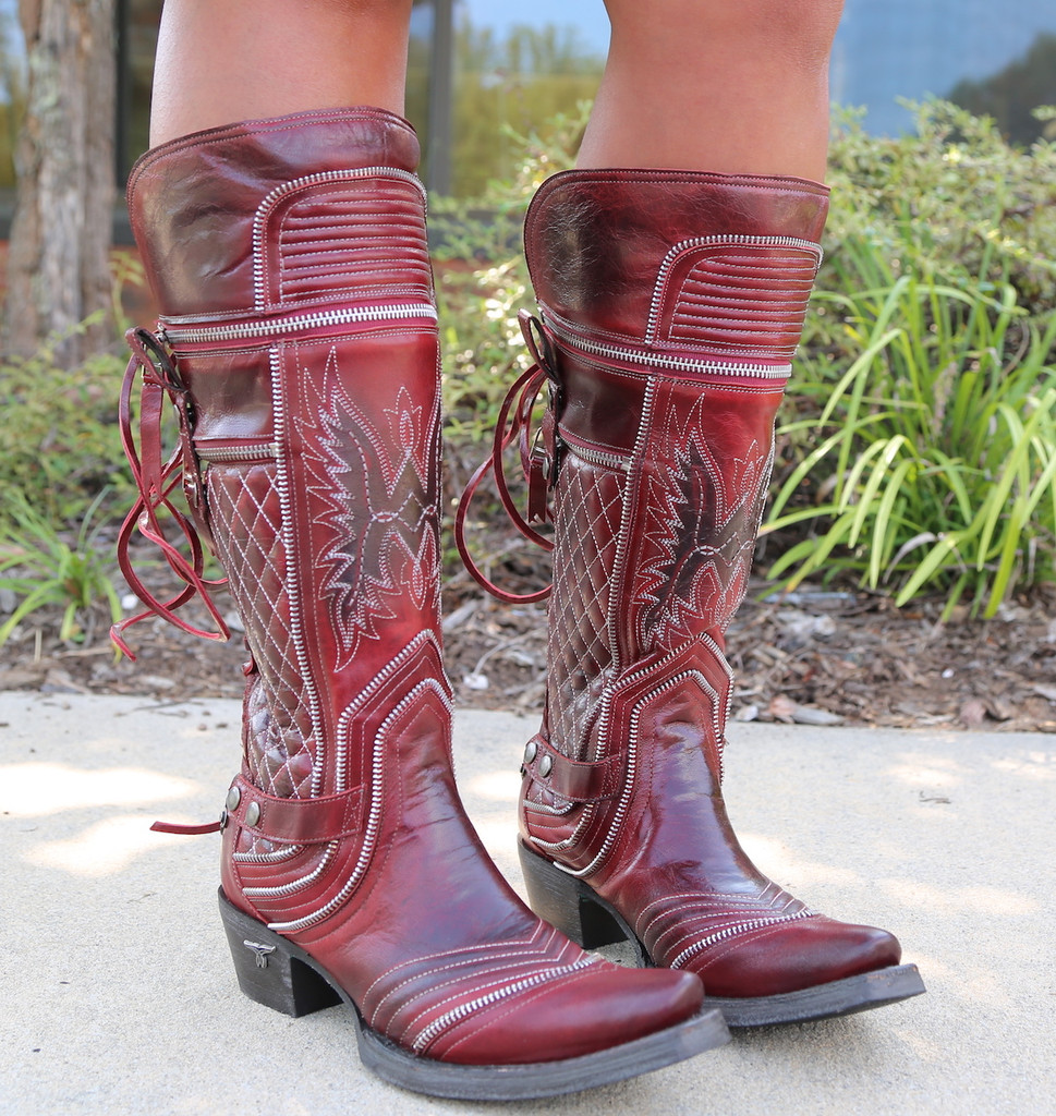 Lane Boots Zip It Red Moto Zipper LB0377A Picture