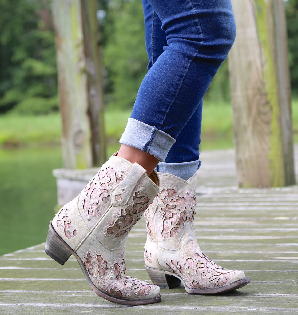 Corral Pink Glitter Inlay and Crystals Ankle Boot A3558 Image